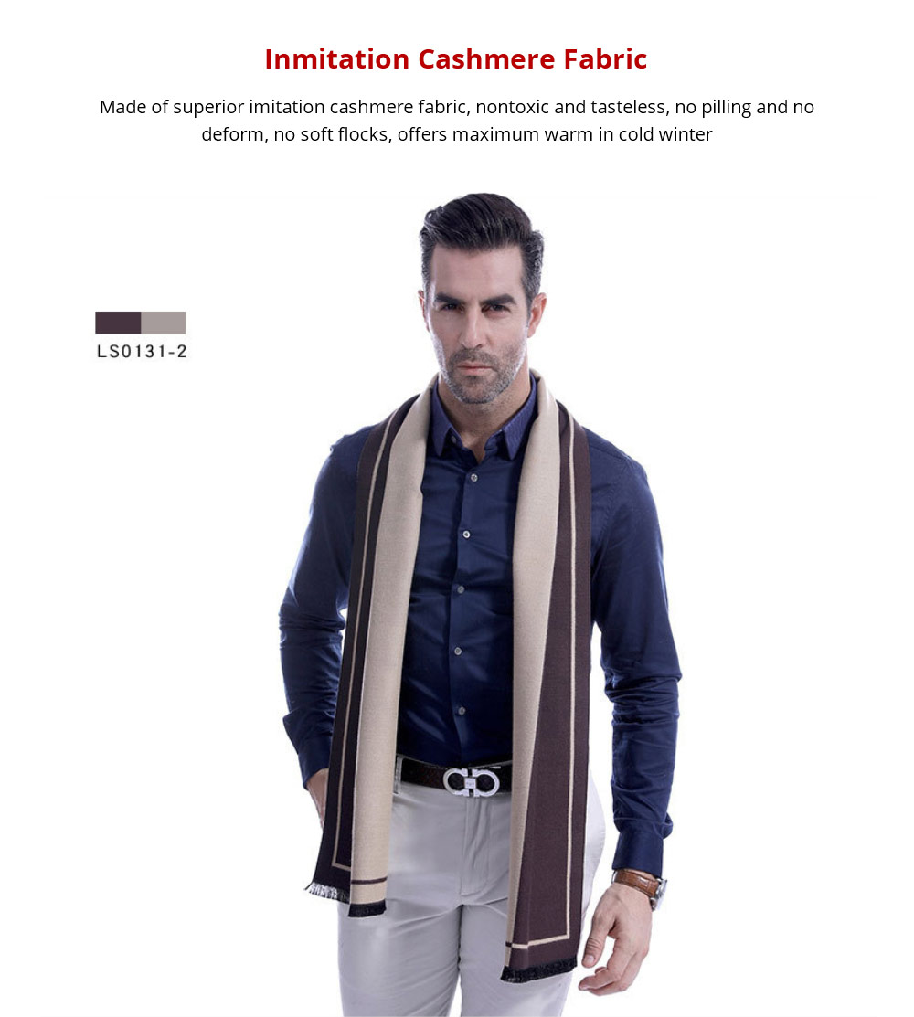 Business Scarf Man Stripe for Business Casual Fashion, Warm Imitation Cashmere Scarves, Contrast Color Gentleman Scarf 11