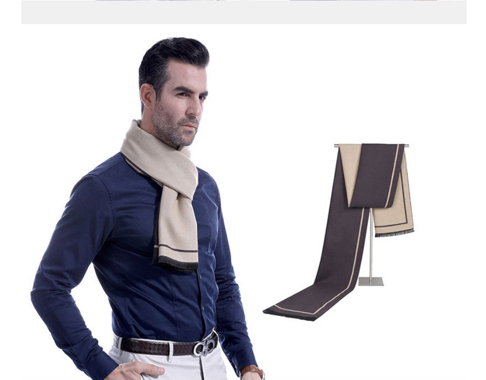 Business Scarf Man Stripe for Business Casual Fashion, Warm Imitation Cashmere Scarves, Contrast Color Gentleman Scarf 13