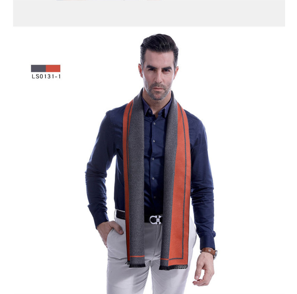 Business Scarf Man Stripe for Business Casual Fashion, Warm Imitation Cashmere Scarves, Contrast Color Gentleman Scarf 14
