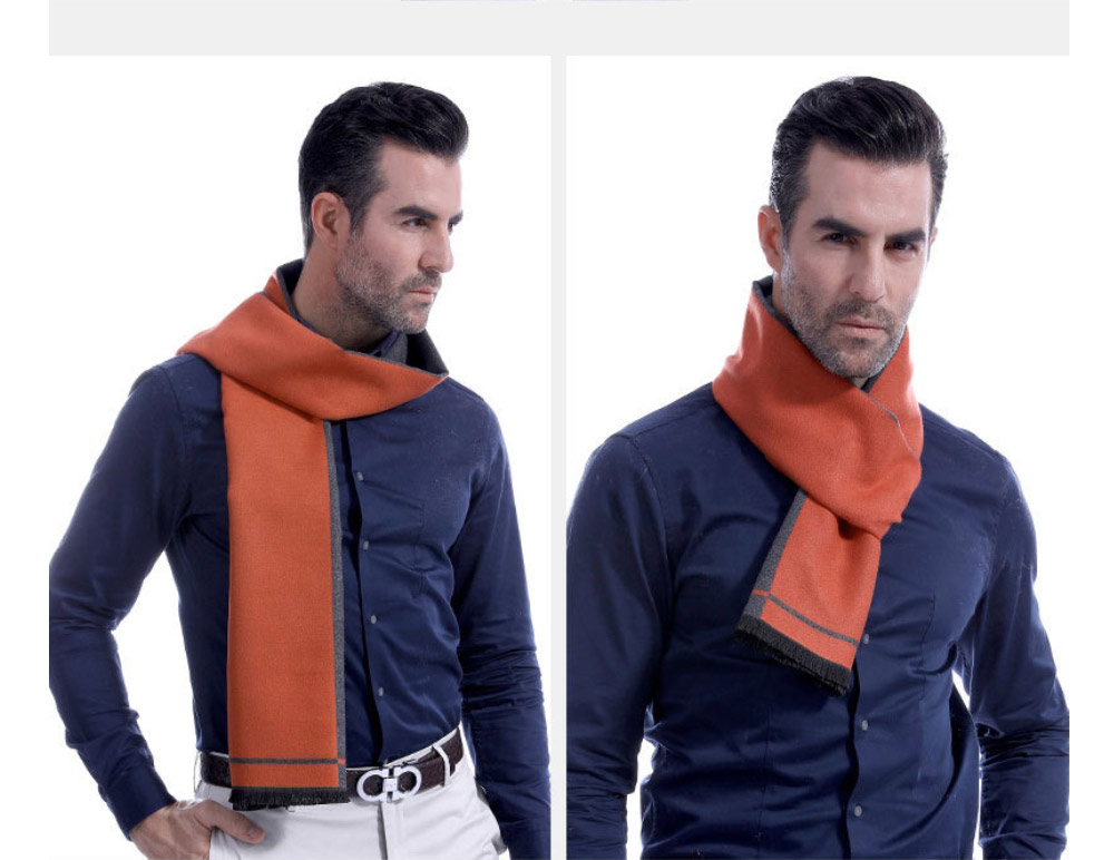 Business Scarf Man Stripe for Business Casual Fashion, Warm Imitation Cashmere Scarves, Contrast Color Gentleman Scarf 15