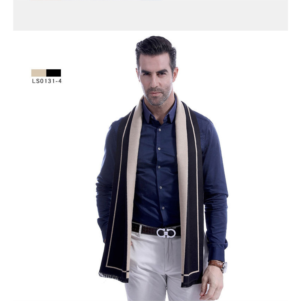 Business Scarf Man Stripe for Business Casual Fashion, Warm Imitation Cashmere Scarves, Contrast Color Gentleman Scarf 17