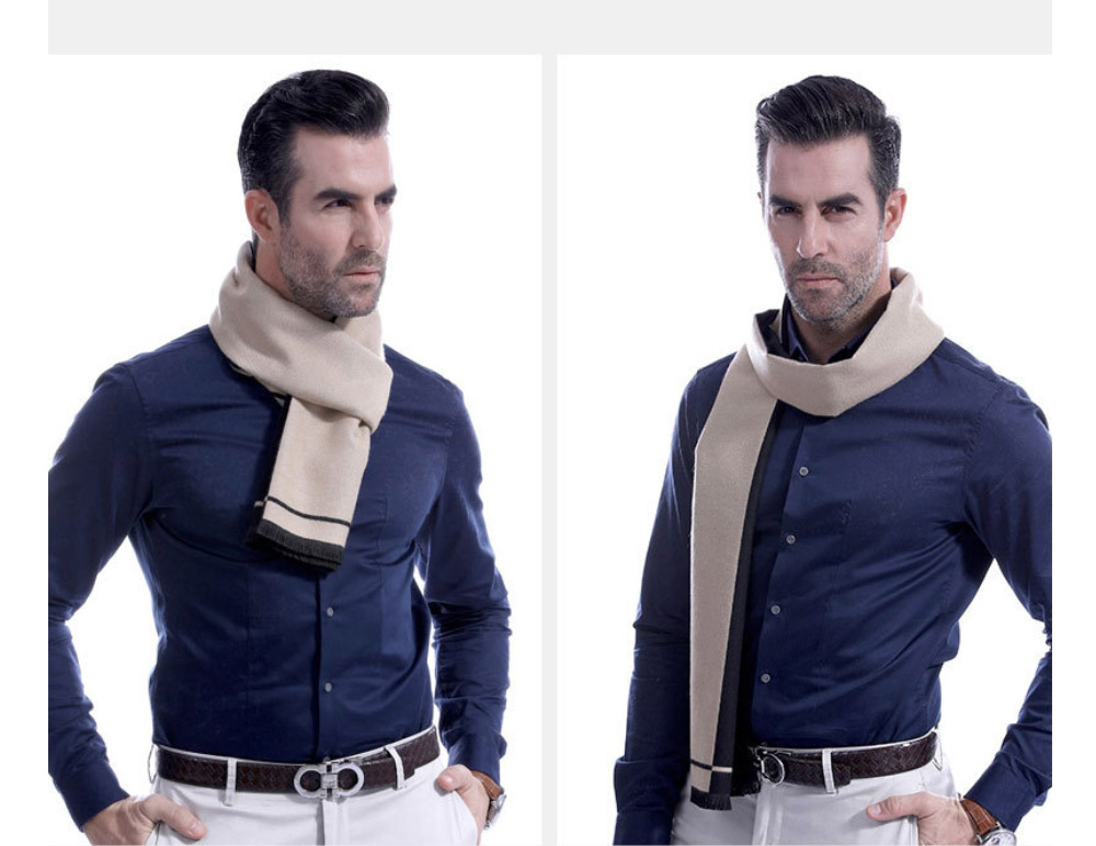 Business Scarf Man Stripe for Business Casual Fashion, Warm Imitation Cashmere Scarves, Contrast Color Gentleman Scarf 18