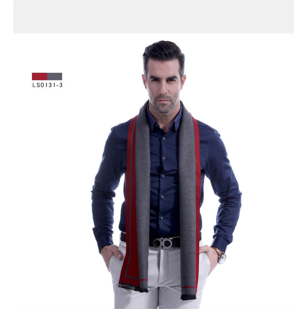 Business Scarf Man Stripe for Business Casual Fashion, Warm Imitation Cashmere Scarves, Contrast Color Gentleman Scarf 20