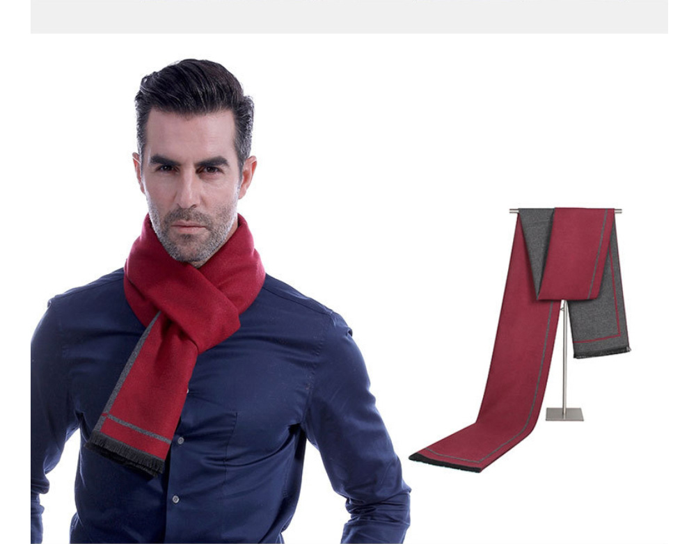 Business Scarf Man Stripe for Business Casual Fashion, Warm Imitation Cashmere Scarves, Contrast Color Gentleman Scarf 22