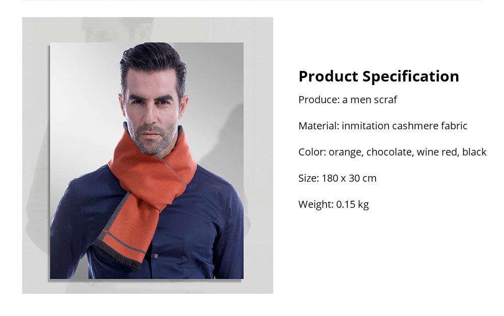Business Scarf Man Stripe for Business Casual Fashion, Warm Imitation Cashmere Scarves, Contrast Color Gentleman Scarf 23