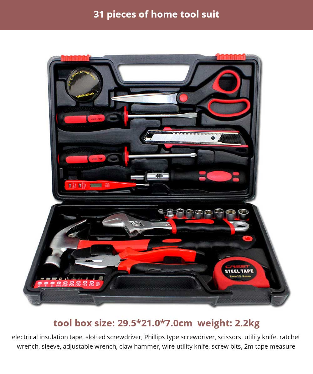Multifunctional Home Repair Tool Set, Household Hand Tools Set, Hand Tool Kit with Plastic Tool Box 21