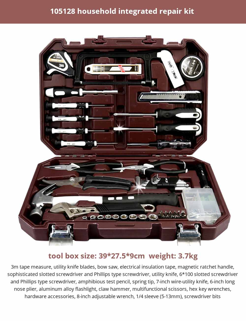 Multifunctional Home Repair Tool Set, Household Hand Tools Set, Hand Tool Kit with Plastic Tool Box 29