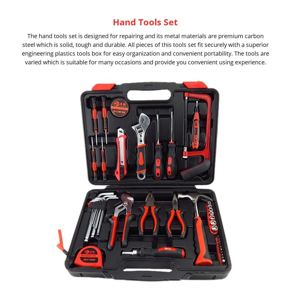 Household Hand Tools Set, Home Repair Tool Set Hand Tool Kit with Plastic Tool Box, Car kits 6