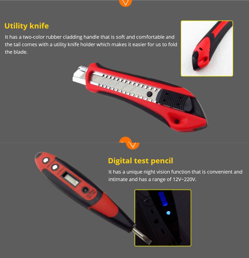 Household Hand Tools Set, Home Repair Tool Set Hand Tool Kit with Plastic Tool Box, Car kits 14