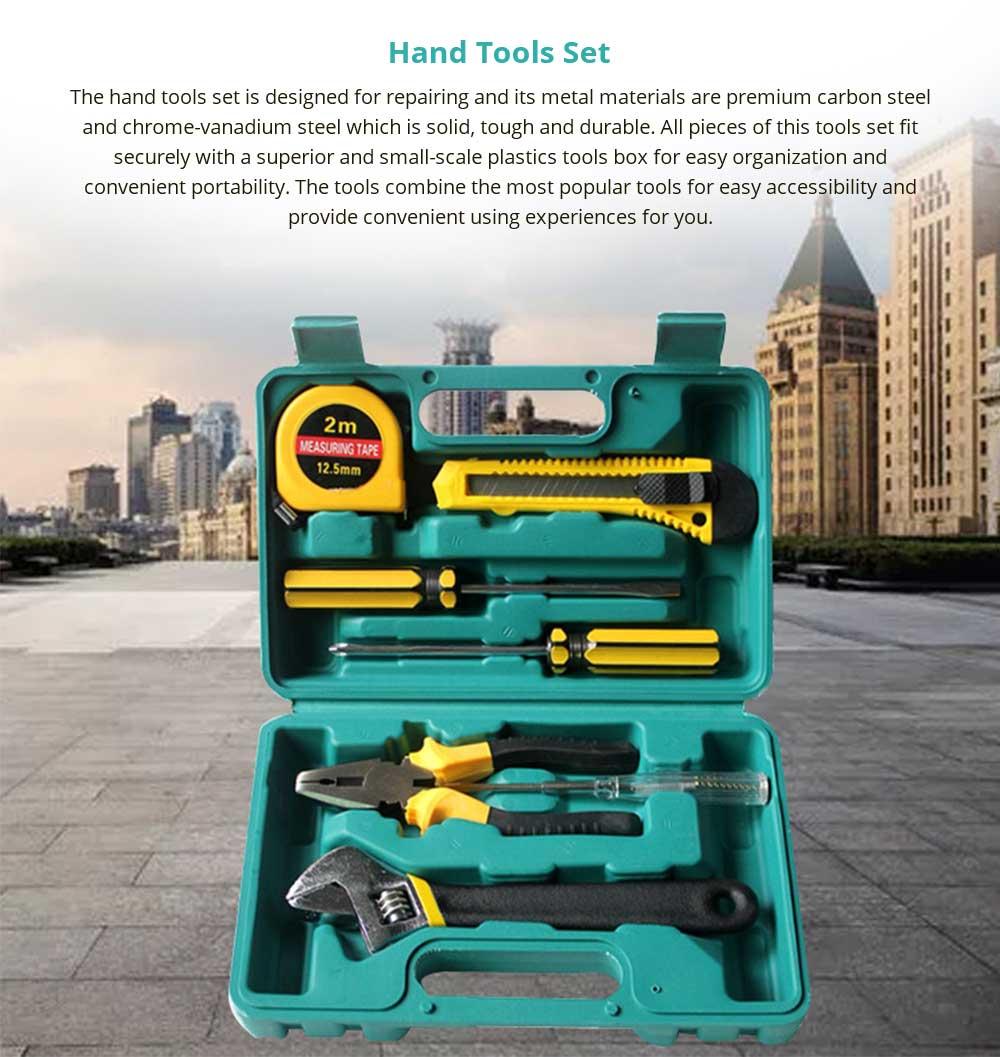 Household Hand Tools Set, 8 PCS Tools Set, Strong Hand Tools, Home Repair Tool Set, Hand Tool Kit with Plastic Tool Box, Car kits 6