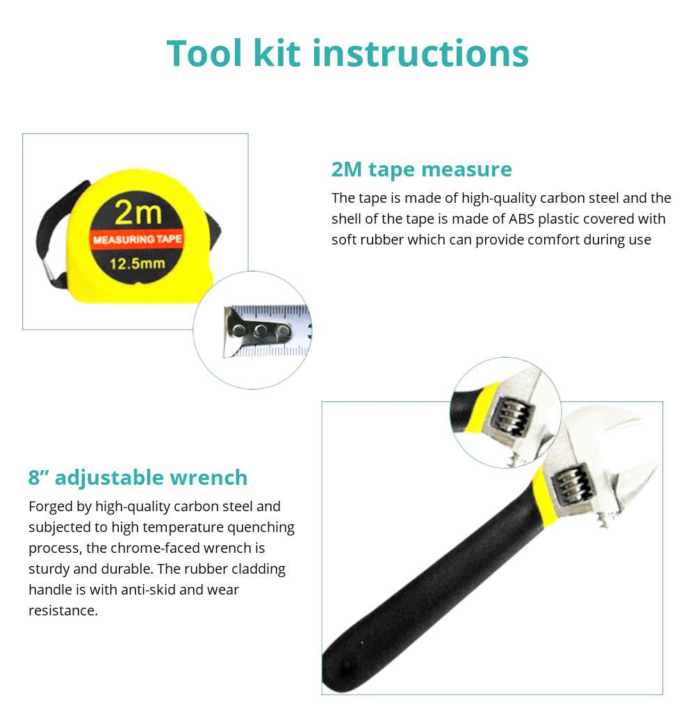Household Hand Tools Set, 8 PCS Tools Set, Strong Hand Tools, Home Repair Tool Set, Hand Tool Kit with Plastic Tool Box, Car kits 10