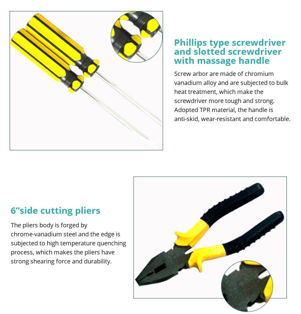 Household Hand Tools Set, 8 PCS Tools Set, Strong Hand Tools, Home Repair Tool Set, Hand Tool Kit with Plastic Tool Box, Car kits 11