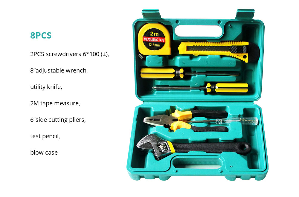 Household Hand Tools Set, 8 PCS Tools Set, Strong Hand Tools, Home Repair Tool Set, Hand Tool Kit with Plastic Tool Box, Car kits 13