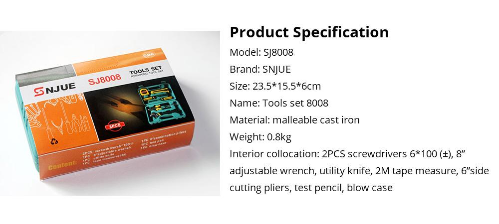 Household Hand Tools Set, 8 PCS Tools Set, Strong Hand Tools, Home Repair Tool Set, Hand Tool Kit with Plastic Tool Box, Car kits 14