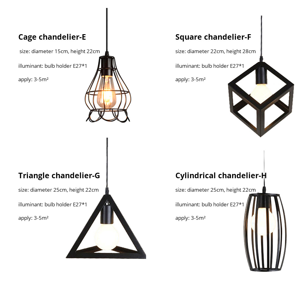 Iron Chandelier For Living Room, Retro Iron Chandelier LED Light, Single Head Lamp, Contracted Lamp, Creative Lamp 14
