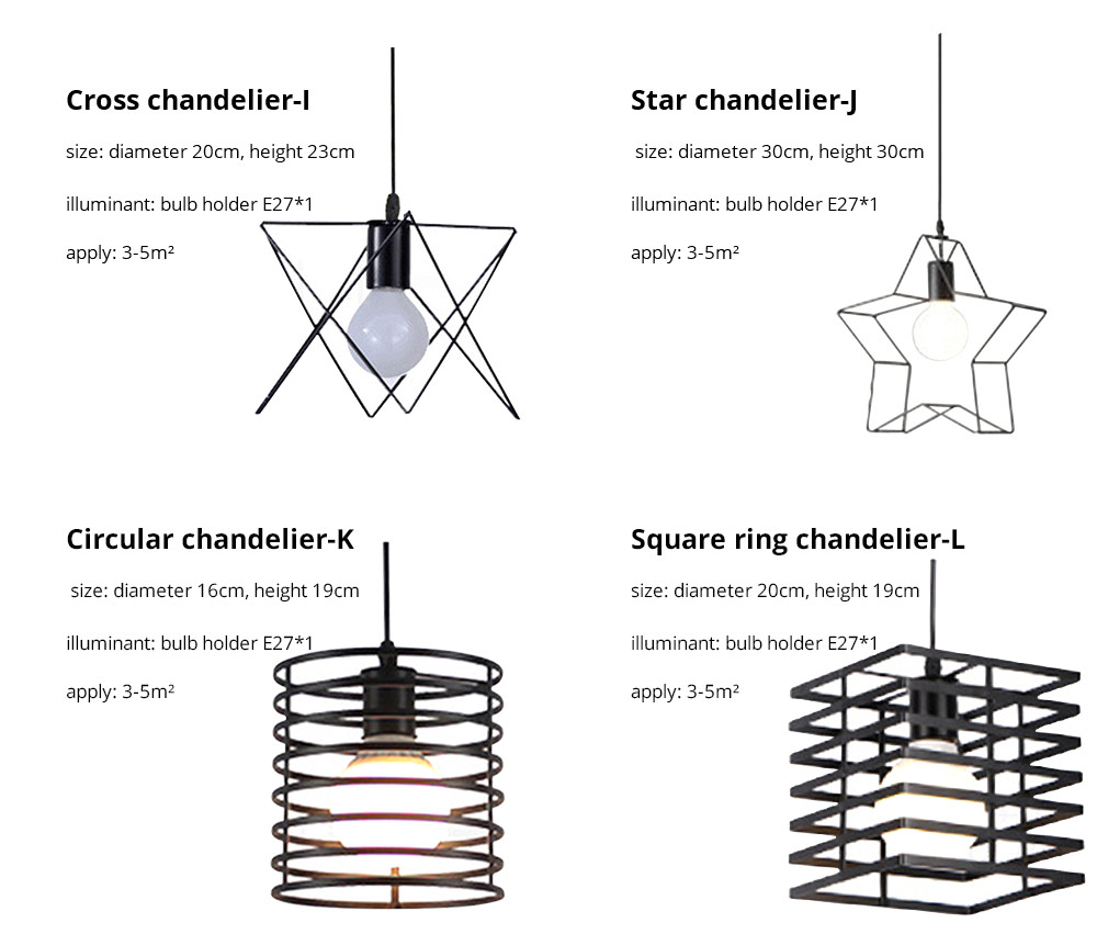 Iron Chandelier For Living Room, Retro Iron Chandelier LED Light, Single Head Lamp, Contracted Lamp, Creative Lamp 15