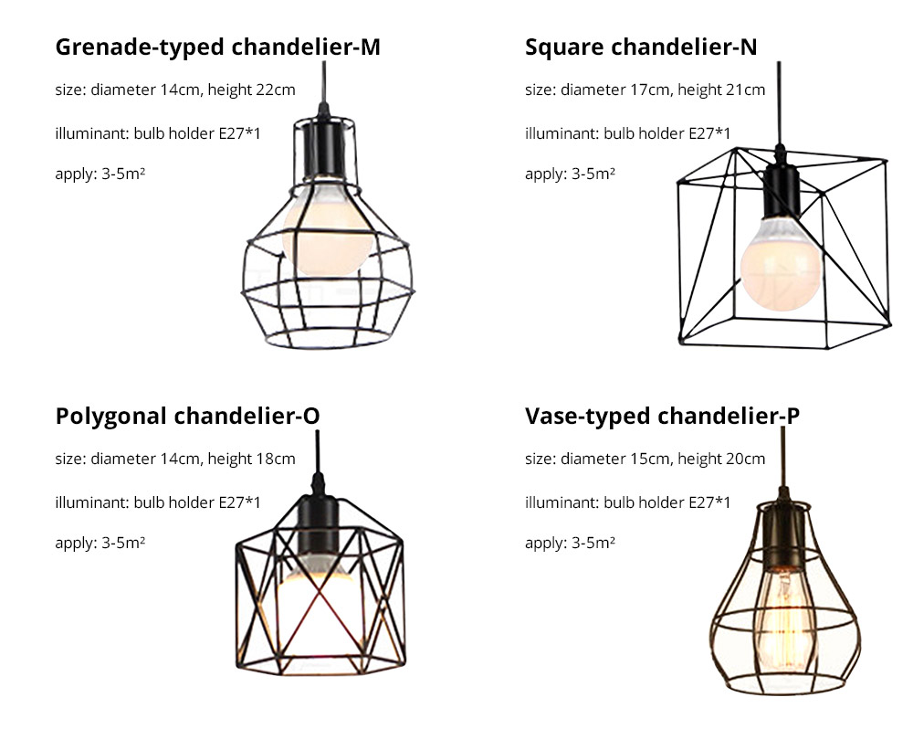 Iron Chandelier For Living Room, Retro Iron Chandelier LED Light, Single Head Lamp, Contracted Lamp, Creative Lamp 16