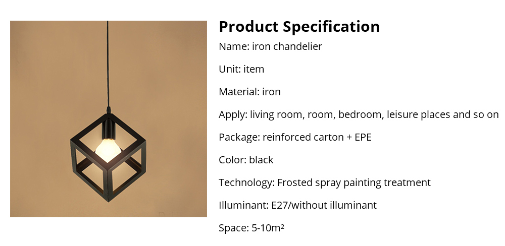 Iron Chandelier For Living Room, Retro Iron Chandelier LED Light, Single Head Lamp, Contracted Lamp, Creative Lamp 17