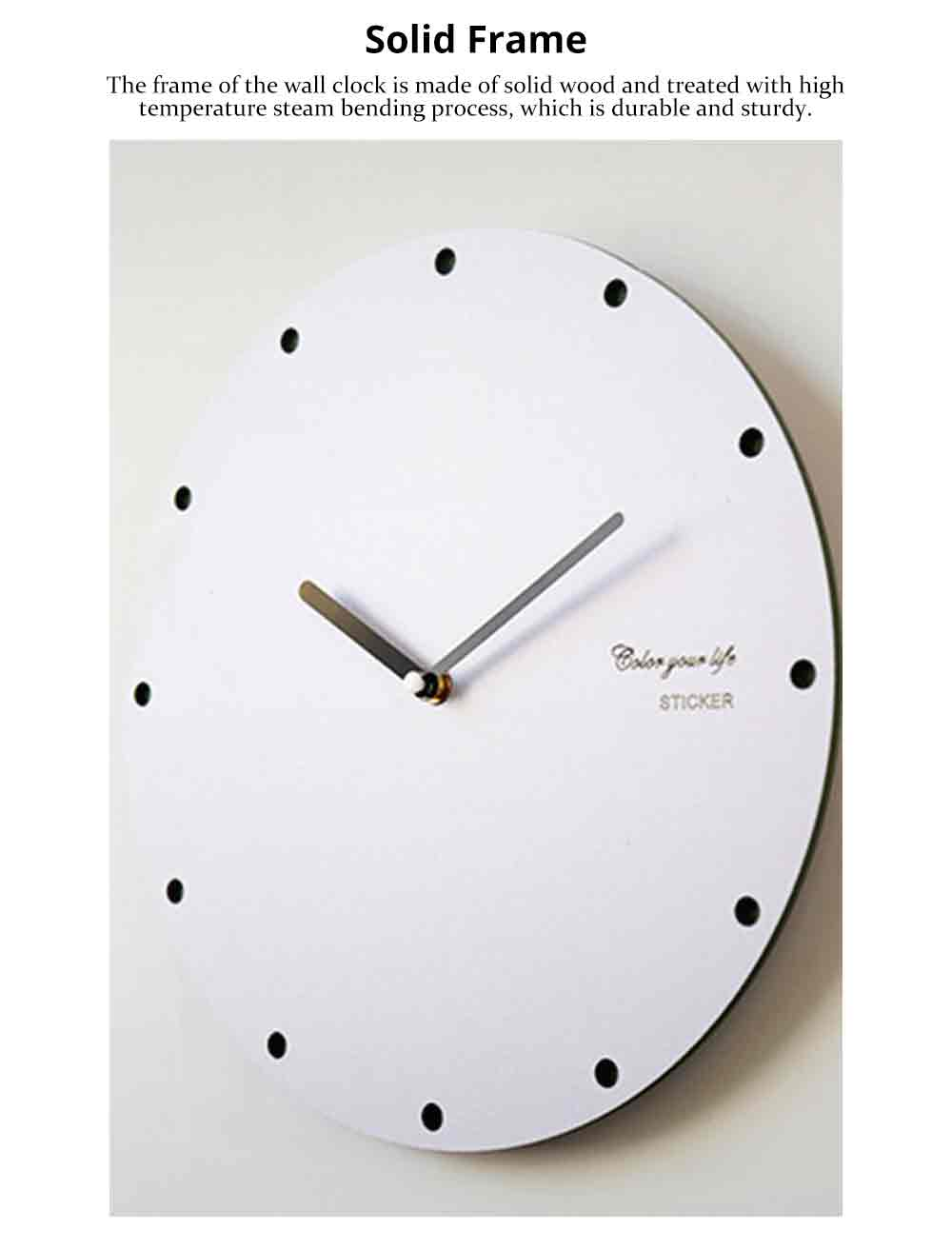 Round Wall Clock, Creative Wooden Wall Clock Modern Design Decoration, Silence 7