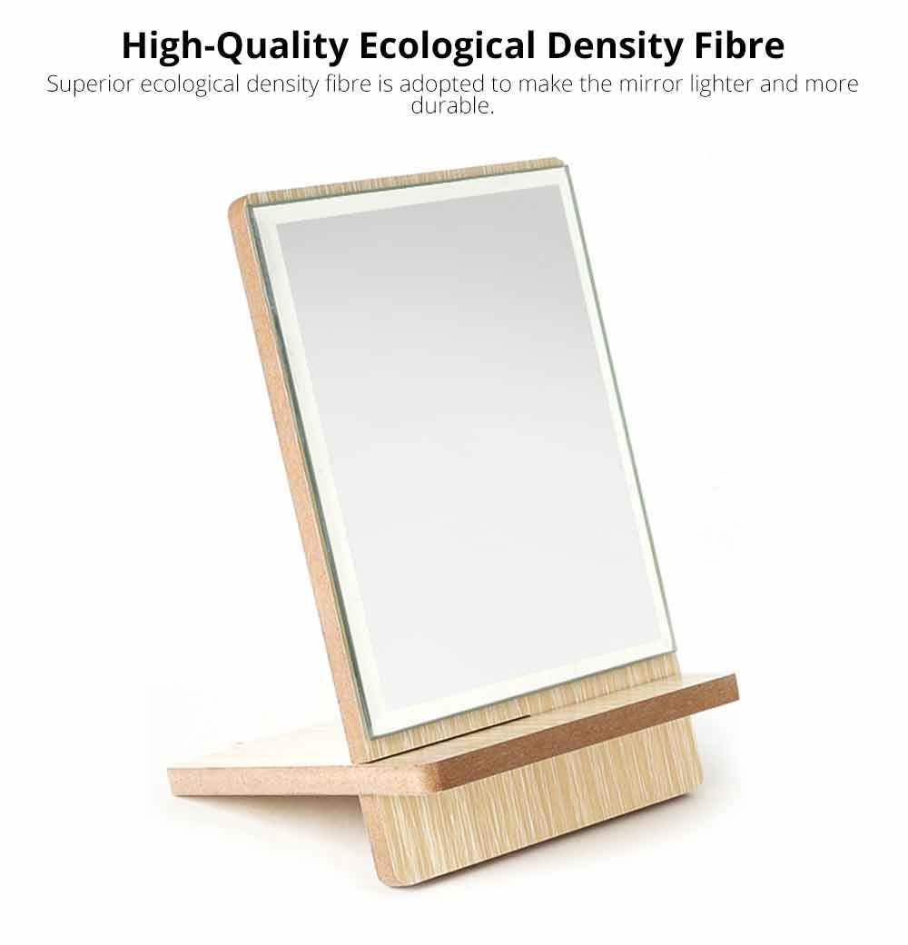 Wooden Table Top Mirror, One-Sided Makeup Mirror For Vanity, Portable Rectangle Cosmetic Mirror 2
