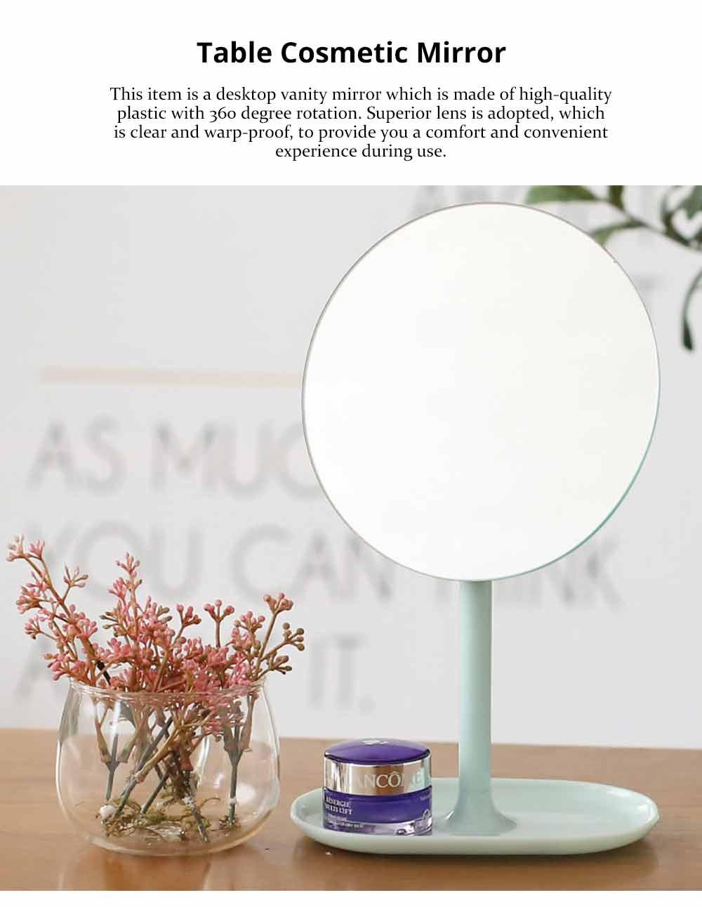 Table Top Vanity Mirror - Table Cosmetic Mirror For Vanity, One-Sided Round Cosmetic Mirror For Makeup 0