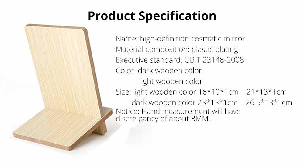 Wooden Table Top Mirror, One-Sided Makeup Mirror For Vanity, Portable Rectangle Cosmetic Mirror 6