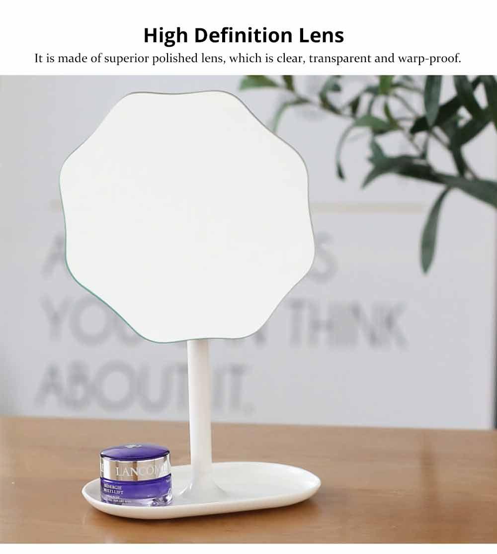 Table Top Vanity Mirror - Table Cosmetic Mirror For Vanity, One-Sided Round Cosmetic Mirror For Makeup 7