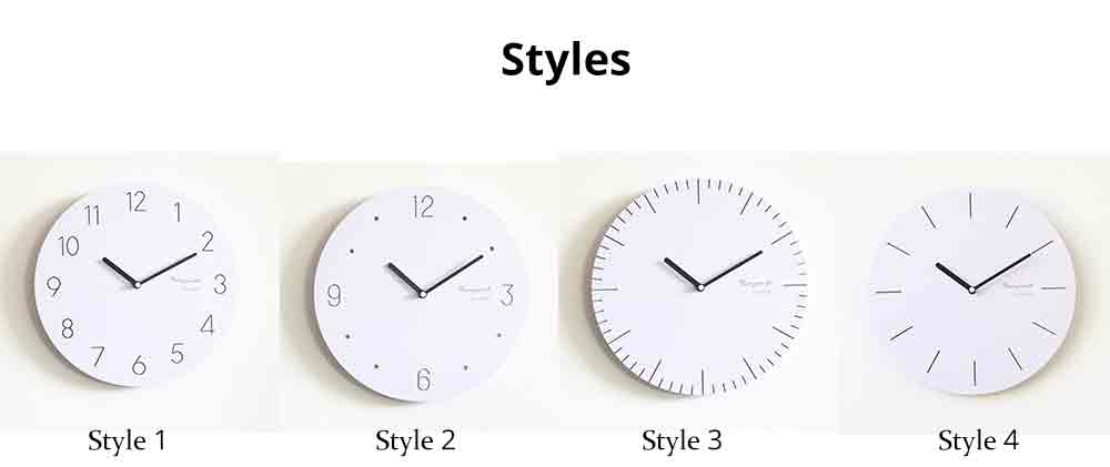 Round Wall Clock, Creative Wooden Wall Clock Modern Design Decoration, Silence 12
