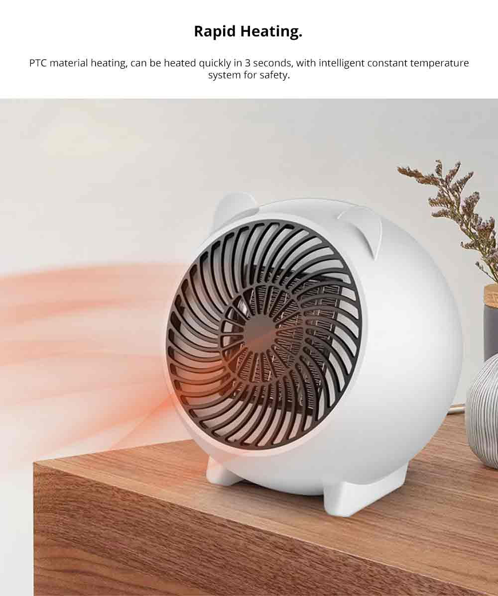 Mini Heater Fan for Desktop Home Office, Portable Electric Space Heater Cute Cartoon Candy Color 2
