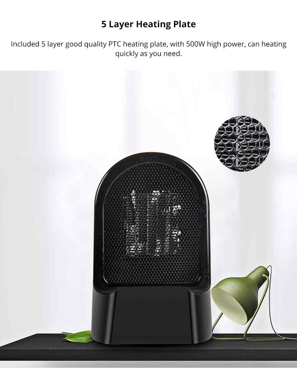 Handy Heater - Portable Mini Furnace, 500W High Power Small Winter Fan Hot Air Warmer for Home Office 2