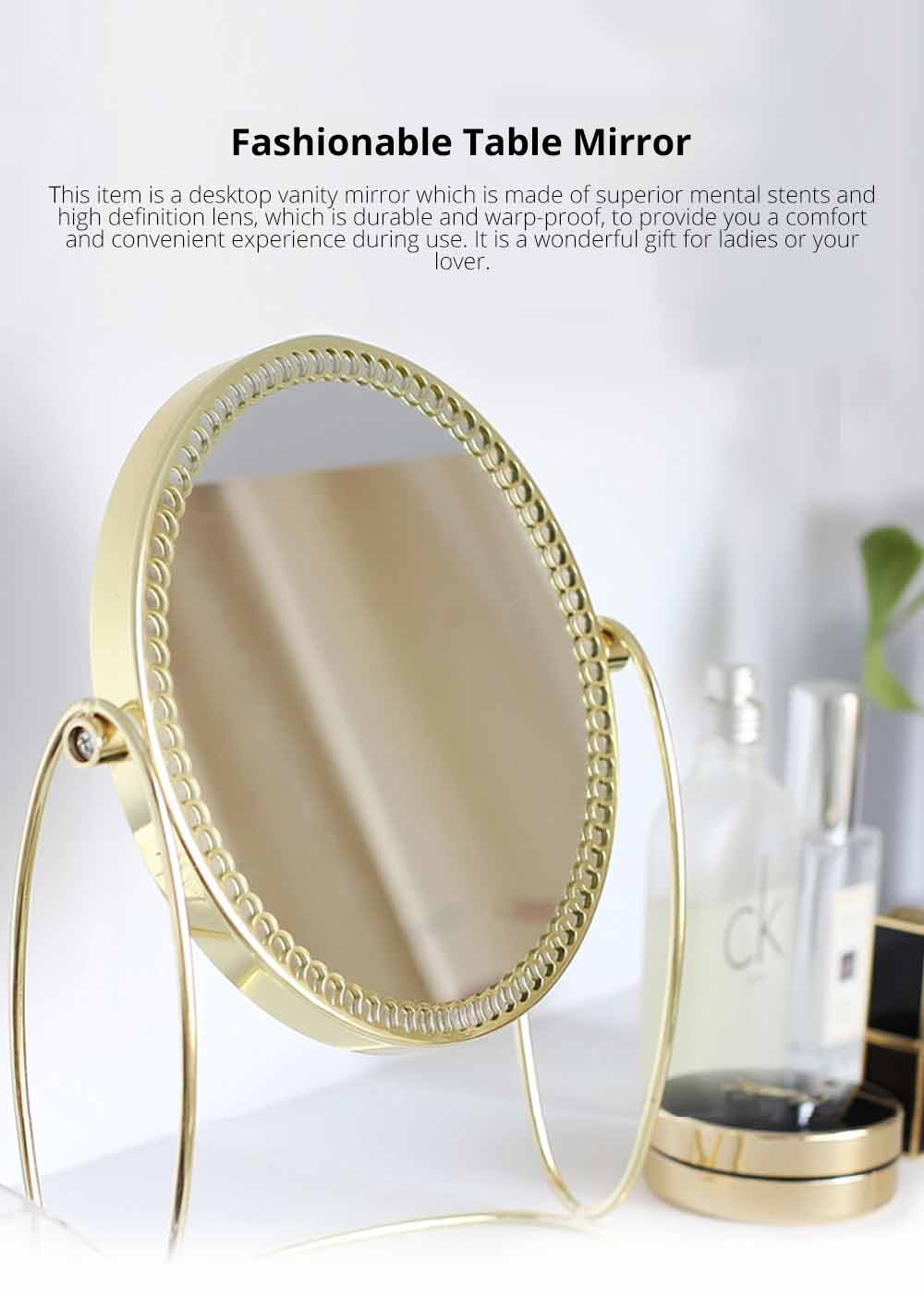Tabletop Vanity Mirror, One-Sided Makeup Mirror, Round Cosmetic Mirror With Delicate Lace 0