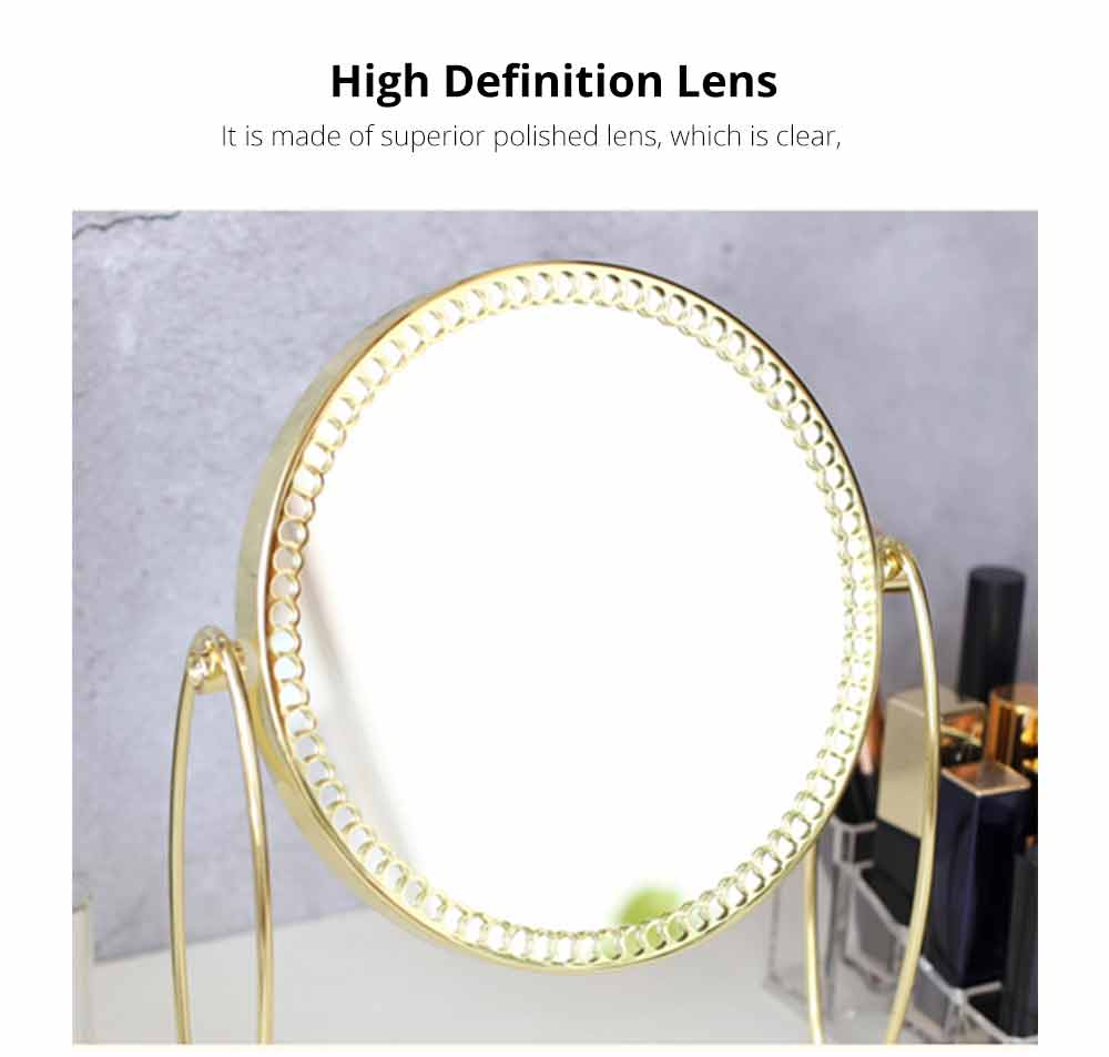 Tabletop Vanity Mirror, One-Sided Makeup Mirror, Round Cosmetic Mirror With Delicate Lace 1