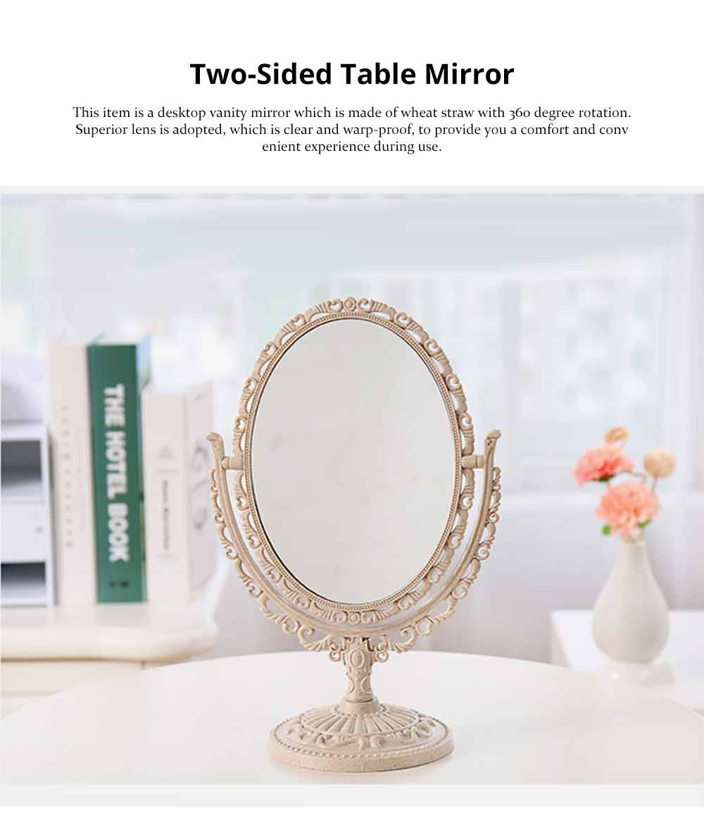 Two-Sided Makeup Mirror - Round Cosmetic Mirror and Magnification 0