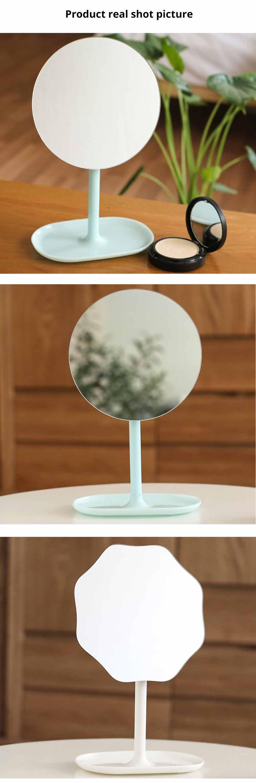Table Top Vanity Mirror - Table Cosmetic Mirror For Vanity, One-Sided Round Cosmetic Mirror For Makeup 11