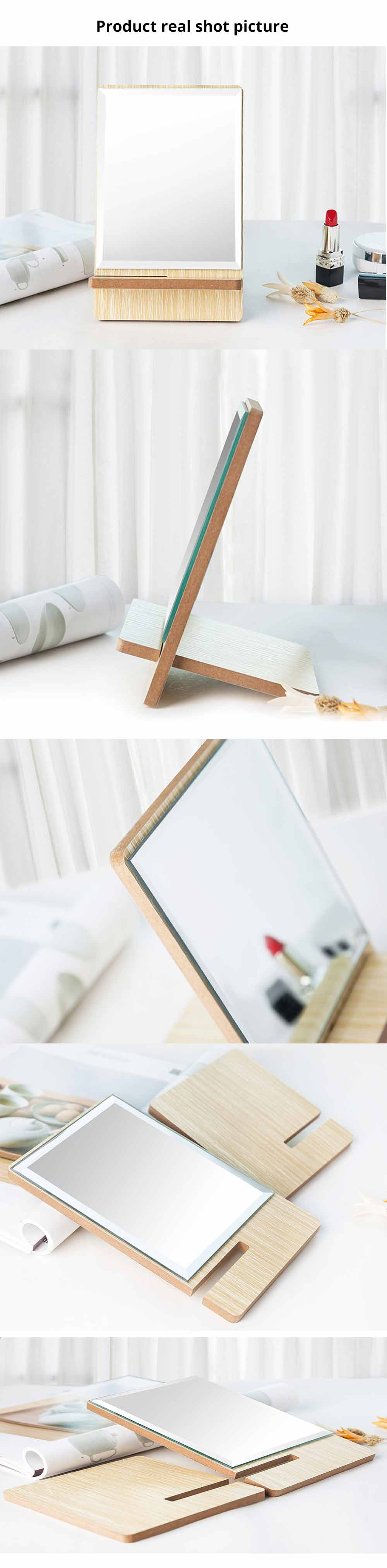 Wooden Table Top Mirror, One-Sided Makeup Mirror For Vanity, Portable Rectangle Cosmetic Mirror 5