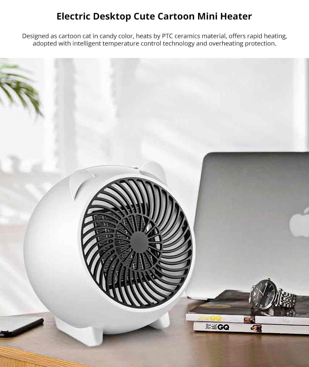 Mini Heater Fan for Desktop Home Office, Portable Electric Space Heater Cute Cartoon Candy Color 0
