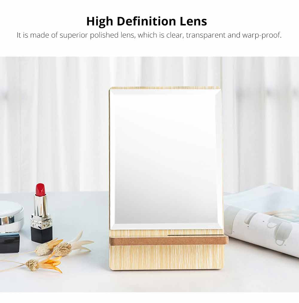Wooden Table Top Mirror, One-Sided Makeup Mirror For Vanity, Portable Rectangle Cosmetic Mirror 1