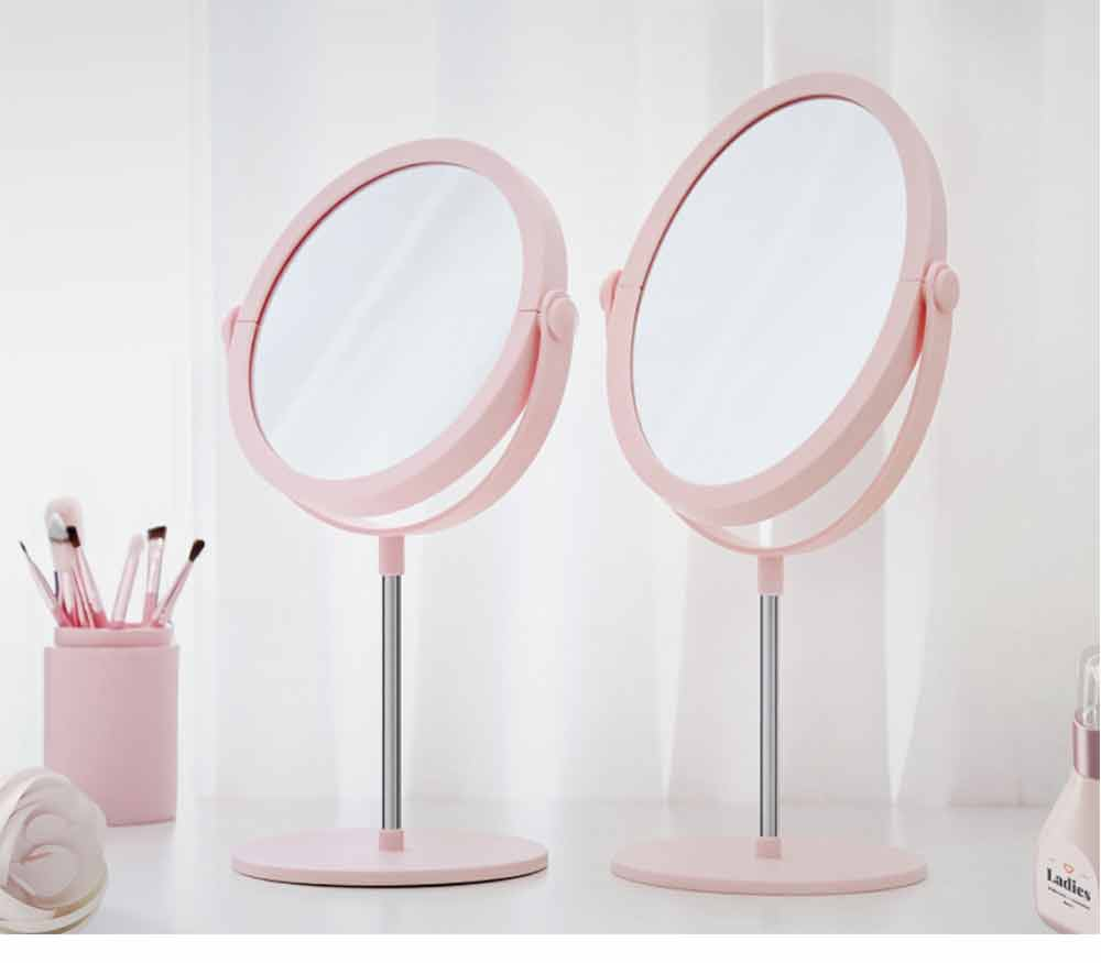 Round Makeup Mirror and Magnification 2×~3×, Table Cosmetic Mirror for Vanity 15