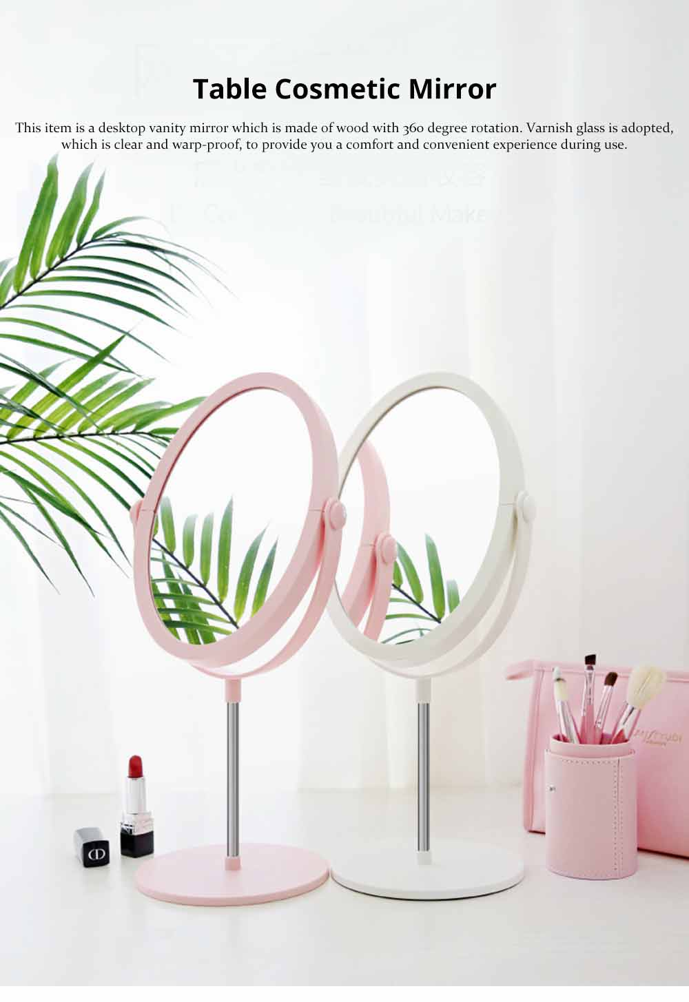 Round Makeup Mirror and Magnification 2×~3×, Table Cosmetic Mirror for Vanity 0