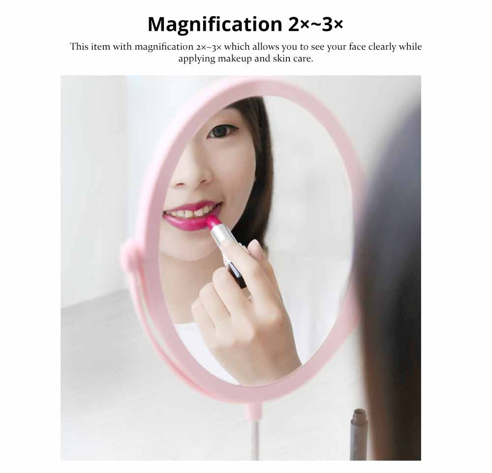 Round Makeup Mirror and Magnification 2×~3×, Table Cosmetic Mirror for Vanity 10