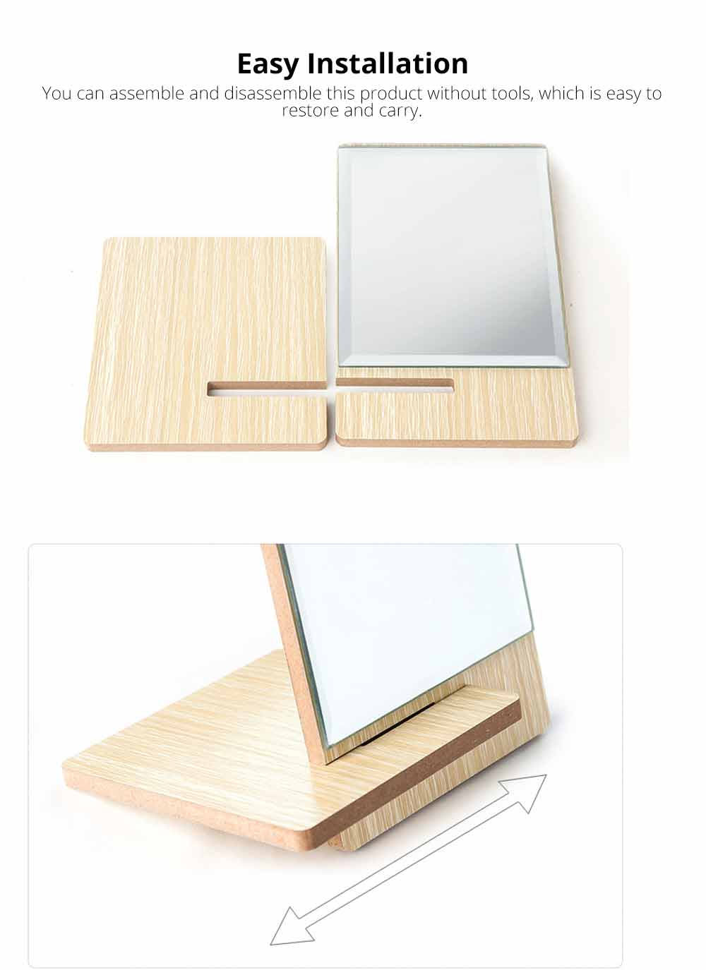 Wooden Table Top Mirror, One-Sided Makeup Mirror For Vanity, Portable Rectangle Cosmetic Mirror 4