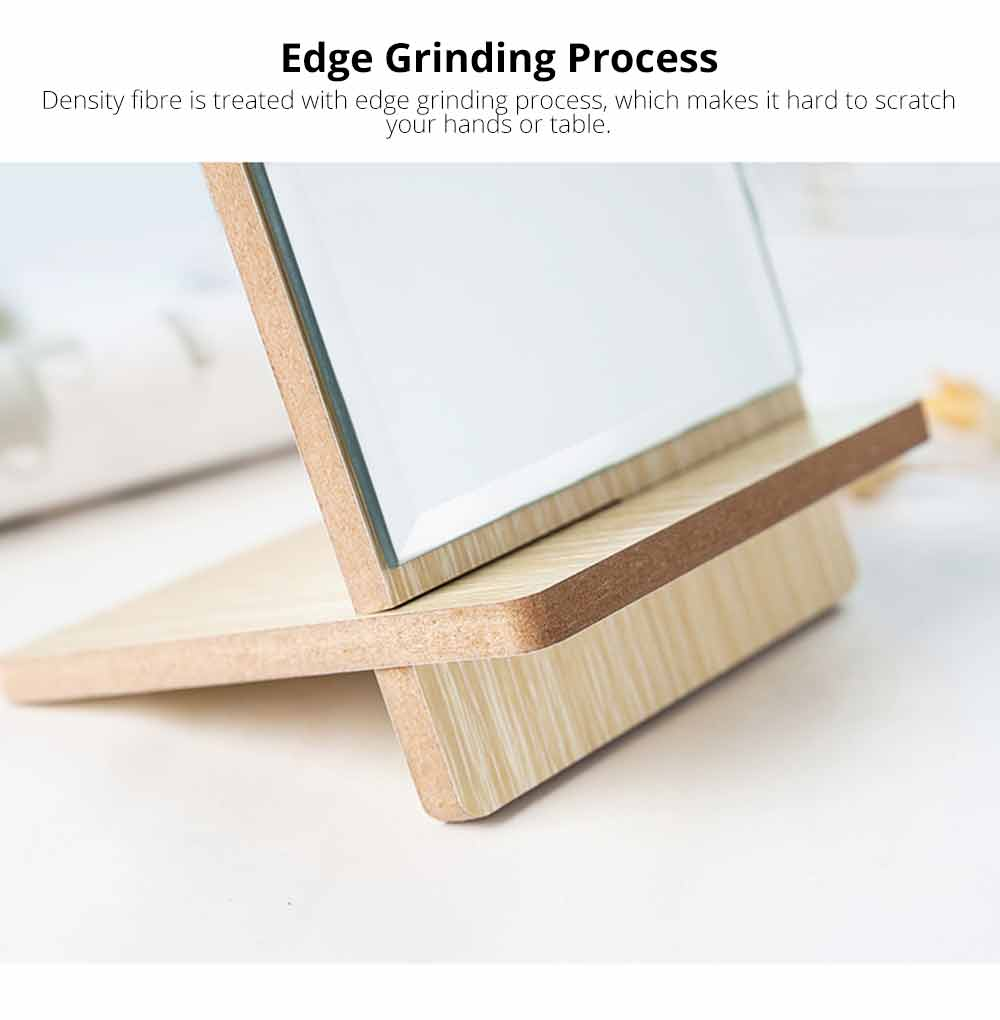 Wooden Table Top Mirror, One-Sided Makeup Mirror For Vanity, Portable Rectangle Cosmetic Mirror 3