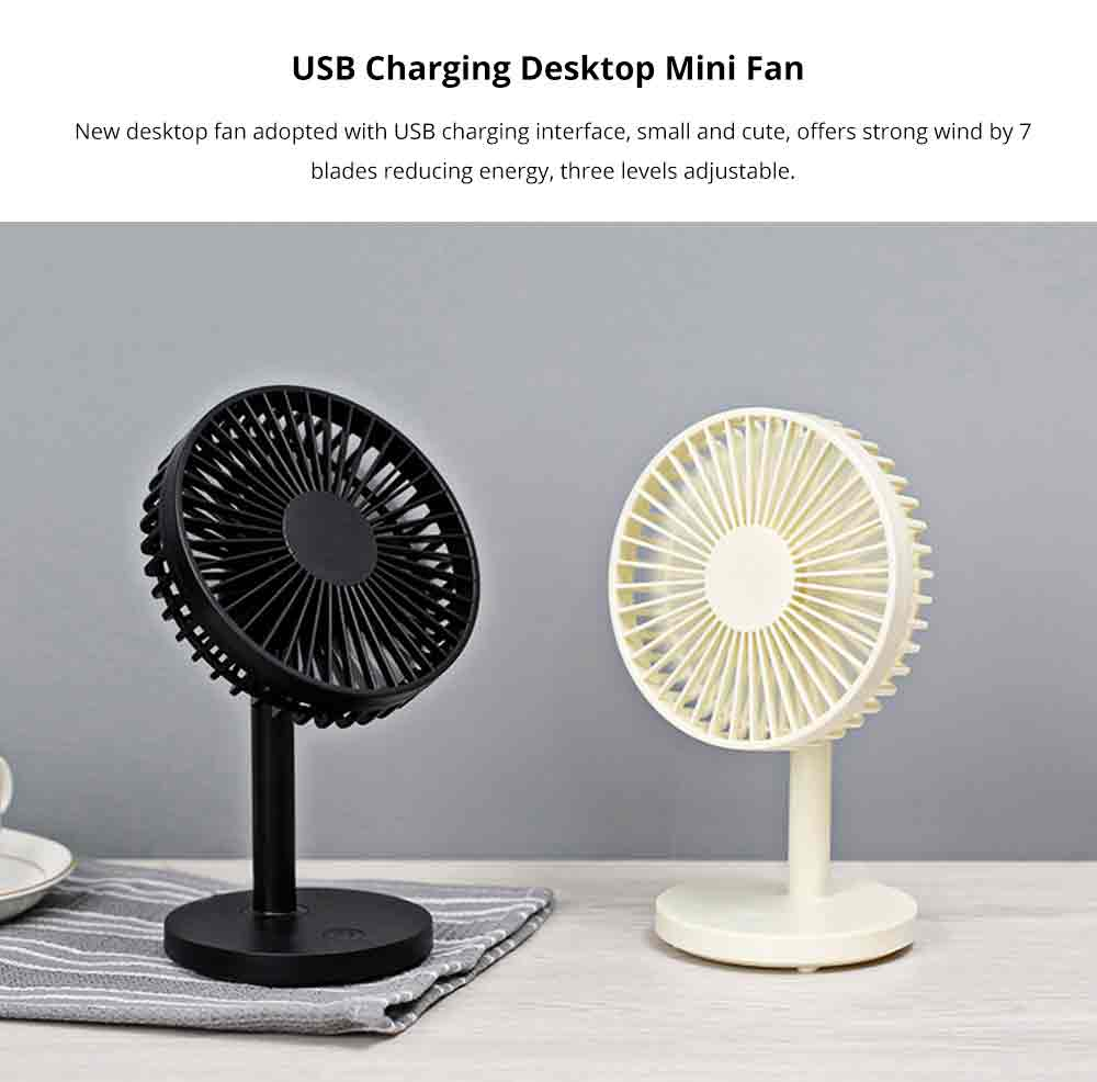 USB Desktop Mini Fan - USB Charge Mini Fan Cooling Air Desktop Hand Hold Portable Fan 3 Levels Adjustable 0