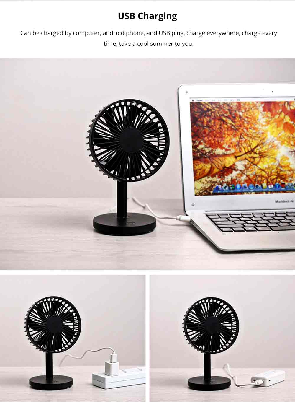 USB Desktop Mini Fan - USB Charge Mini Fan Cooling Air Desktop Hand Hold Portable Fan 3 Levels Adjustable 3