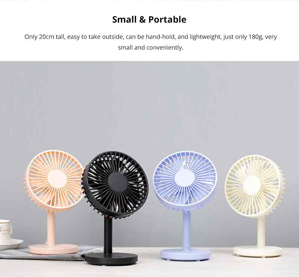 USB Desktop Mini Fan - USB Charge Mini Fan Cooling Air Desktop Hand Hold Portable Fan 3 Levels Adjustable 6