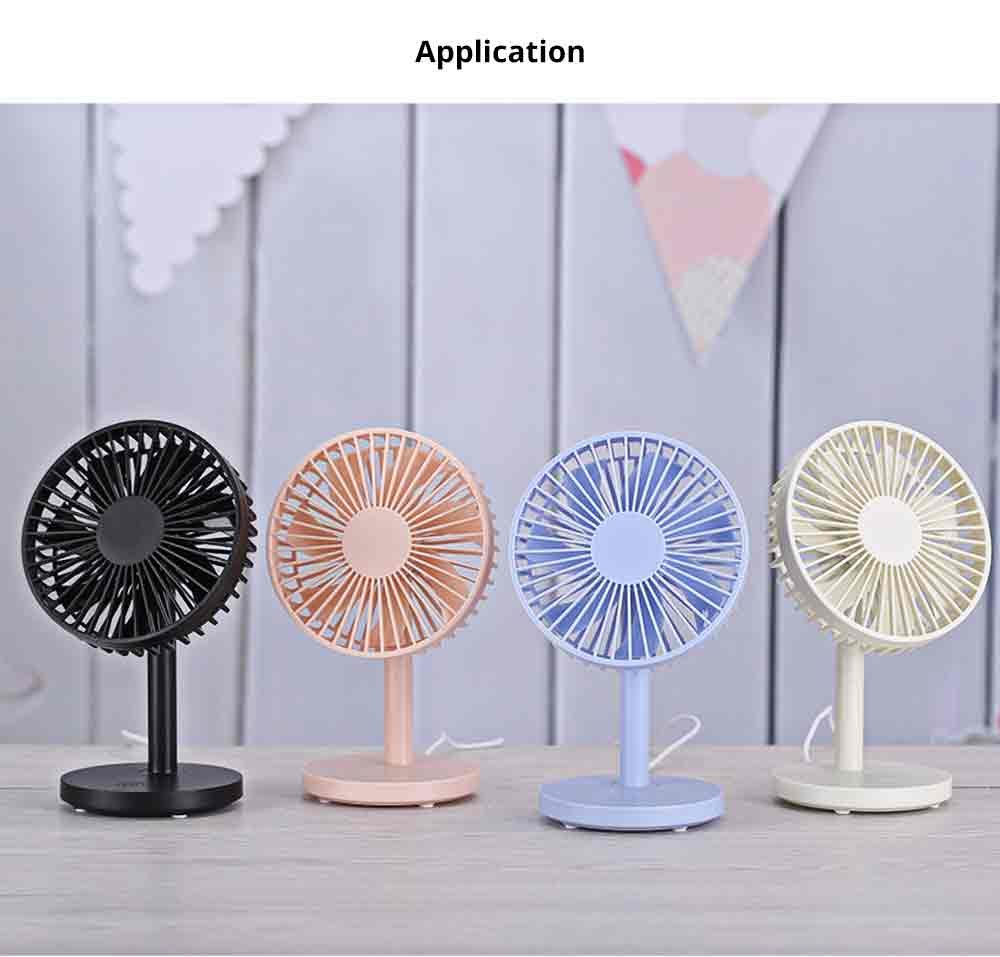 USB Desktop Mini Fan - USB Charge Mini Fan Cooling Air Desktop Hand Hold Portable Fan 3 Levels Adjustable 7