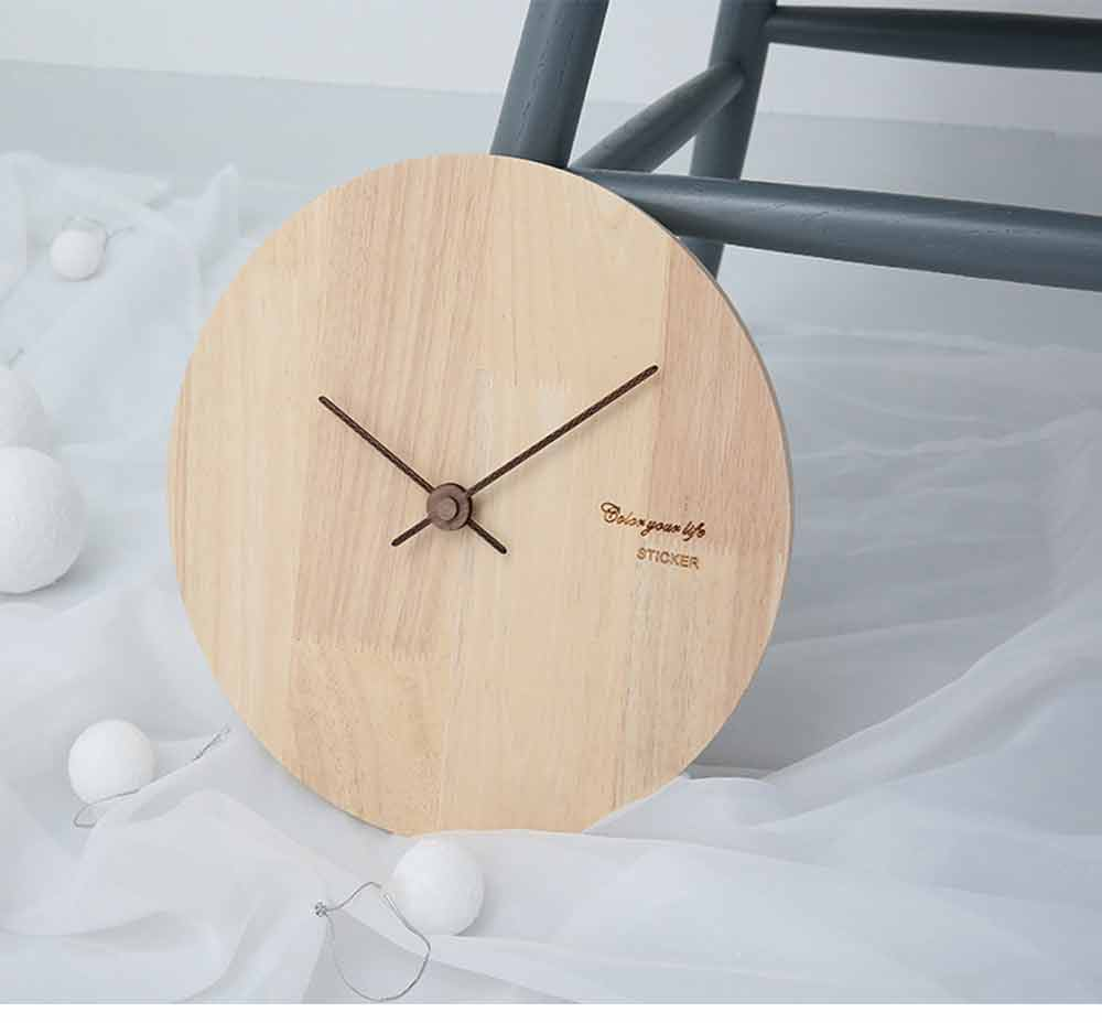 Solid Wood Wall Clock - Minimalist Modern Design Square Wall Clock, Round Wall Clock 12