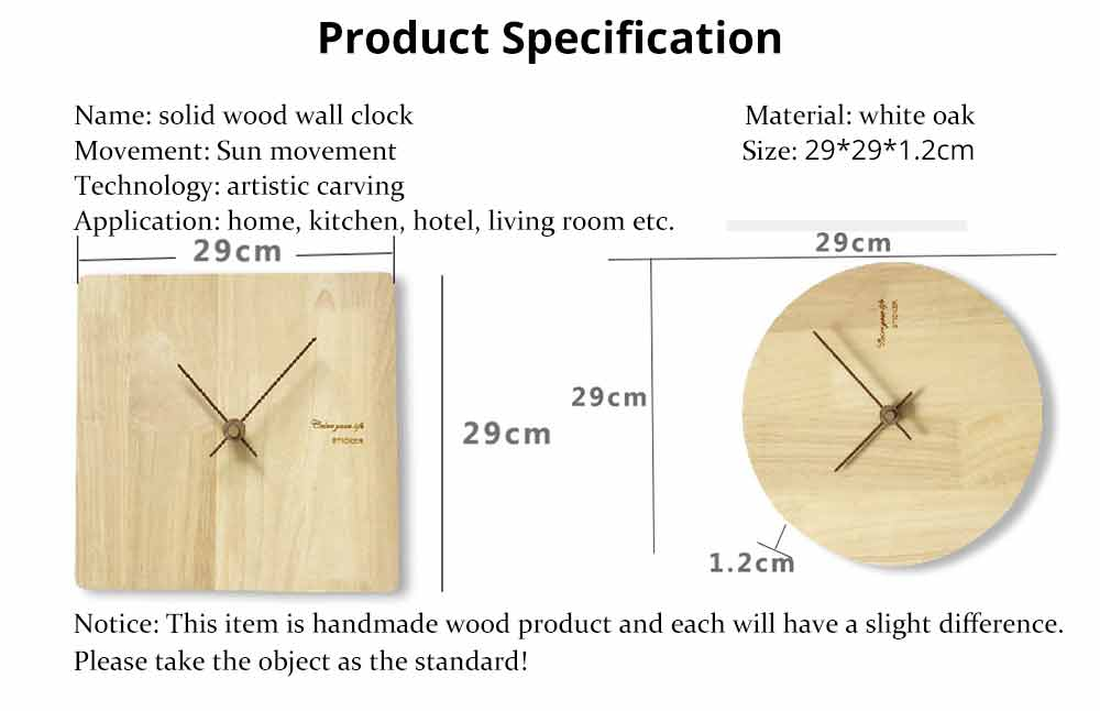Solid Wood Wall Clock - Minimalist Modern Design Square Wall Clock, Round Wall Clock 16