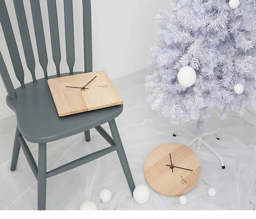 Solid Wood Wall Clock - Minimalist Modern Design Square Wall Clock, Round Wall Clock 9