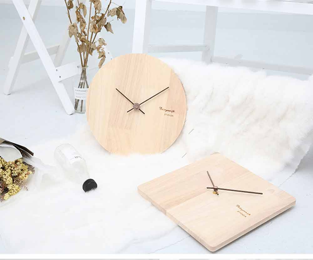 Solid Wood Wall Clock - Minimalist Modern Design Square Wall Clock, Round Wall Clock 13